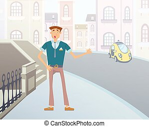 Cartoon man catches a taxi on a city street. Vector illustration.