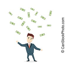 Cartoon man chasing money - vector illustration. Satisfied businessman cash cost under the rain. Success, business concept in flat style.