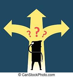 Cartoon man confused with path - Illustration of cartoon man...