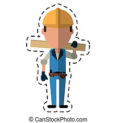 cartoon man construction wooden board and tool belt