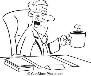 Cartoon Man Drinking Coffee (Black