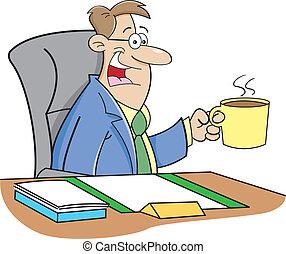 Cartoon Man Drinking Coffee