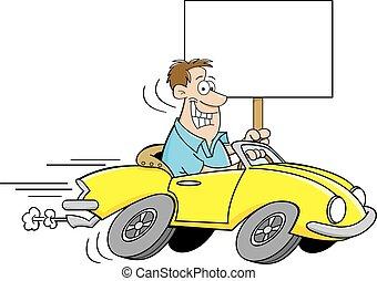 Cartoon man driving a car and holdi
