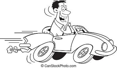 Cartoon Man Driving a Car (Black an - Black and white...