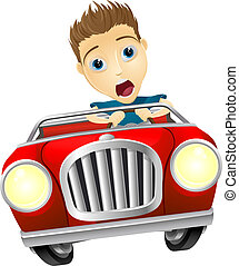 Cartoon man driving fast car