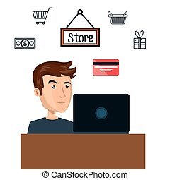 cartoon man e-commerce laptop desk isolated design
