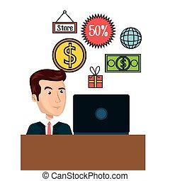 cartoon man e-commerce laptop desk isolated design