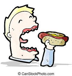 cartoon man eating junk food