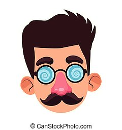 cartoon man face with crazy glasses and mustache, flat design