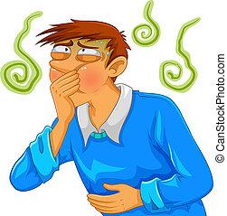 nauseous - cartoon man feeling nauseous