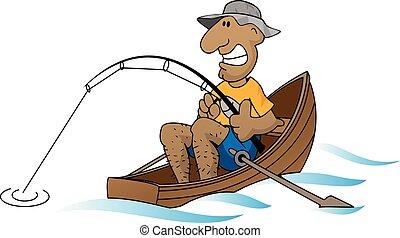 Cartoon man fishing in boat vector illustration