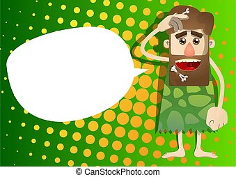 Cartoon man from a prehistoric era confused