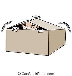 An image of a cartoon man hiding in a box.