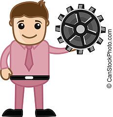 Cartoon Man Holding a Gear Vector