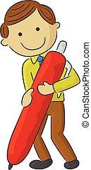 Cartoon man holding a pen