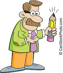 Cartoon man holding a pencil