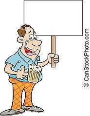 Cartoon man holding a sign.