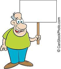 Cartoon man holding a sign. - Cartoon illustration of a man...