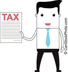 Cartoon man holding a tax form