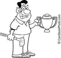 Cartoon man holding a trophy.