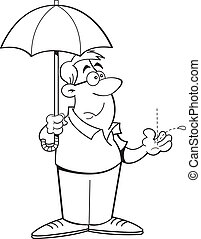 Cartoon Man Holding an Umbrella