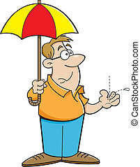 Cartoon Man Holding an Umbrella - Cartoon illustration of a...