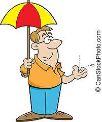 Cartoon Man Holding an Umbrella