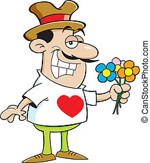 Cartoon man holding flowers.