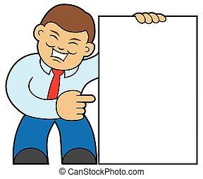 Cartoon Man Holding Sign