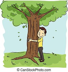 cartoon man hugging tree.