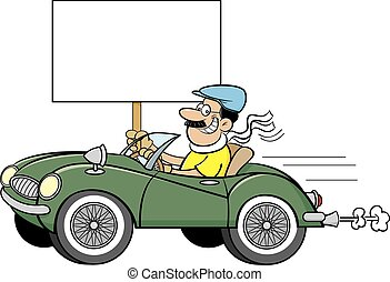 Cartoon man in a sports car holding