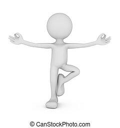 zen pose - cartoon man in a zen pose 3d render
