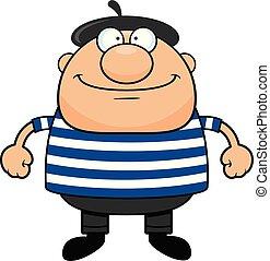 Cartoon Man in Beret Happy