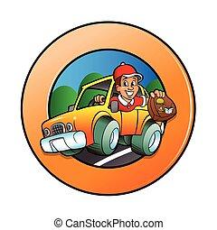 Cartoon man in delivery car