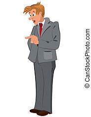 Cartoon man in gray suit and red tie