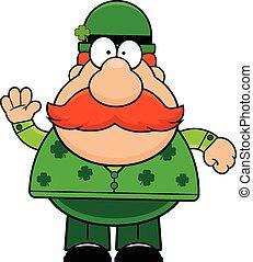 Cartoon Man in Green Waving
