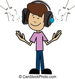 Cartoon man in headphones