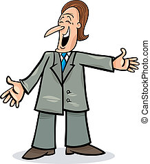 cartoon man in suit - cartoon illustration of funny man in...