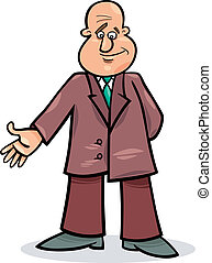 cartoon man in suit - cartoon illustration of funny man in ...