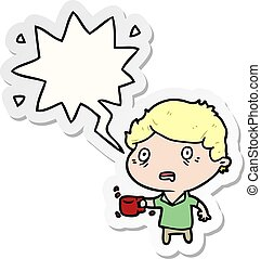 cartoon man jittery from drinking too much coffee and speech...