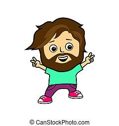 Cartoon man jumping looking happy.