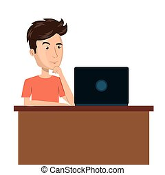 cartoon man laptop desk e-commerce isolated design