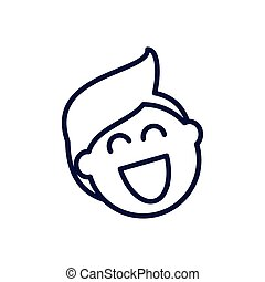 cartoon man laughing, line style icon