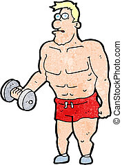 cartoon man lifting weights