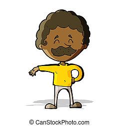 cartoon man making camp gesture