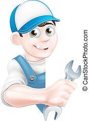 Cartoon Man Mechanic Plumber