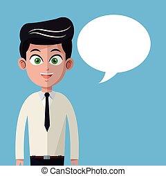 cartoon man necktie business with bubble speech
