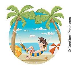Cartoon man on beautiful beach