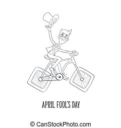 Cartoon man on bicycle