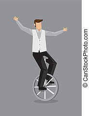 Cartoon Man on Unicycle Vector Illustration - Vector...